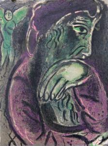 """Job-in-Despair - van """"Drawings-for-the-Bible"""" deur Marc Chagall gepubliseer deur Verve."""